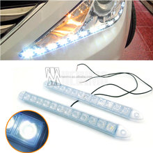 Waterproof Silicone flexible 2*12LED Daytime running lights, DRL Driving Lamp ,soft LED auto headlight with lens
