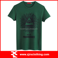 Mens Green Cotton T-shirt Custom Water-based Pigment Printed T-Shirt