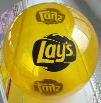 Yellow PVC Inflatable Beach Ball with Customized LOGO