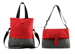 Foldover Tote Diaper Bag with Inner Insulated Bottle Holder Pocket