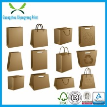 Custom made reusable craft die cut brown kraft paper bag for food, paper shopping bag