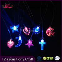 CRYSTAL NECKLACES LED LIGHT UP FLASHING Body Jewelry Blinking Glow STAR MOON CRUCIFIX Necklace LED NECKLACE