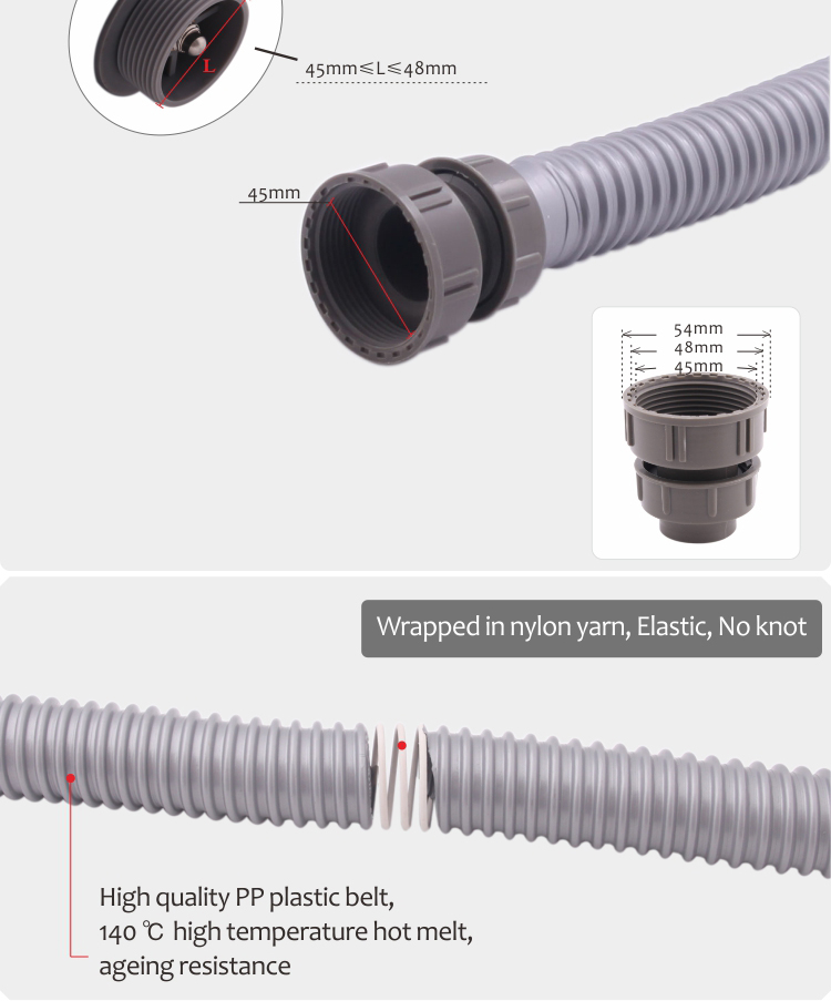 Kitchen plastic flexible drain hose