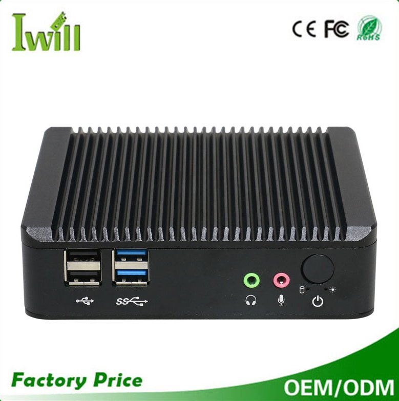Iwill Intel J1900 quad core dual lan fanless industrial mini embedded pc 12V, thin client desktop computer with 1hdmi and vga