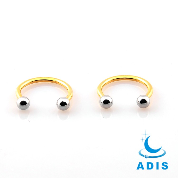 Body jewellery surgical steel wholesale nose piercing gold plated horseshoe