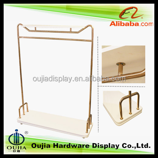cheap wholesale brand name clothes metal rack with wood shelving