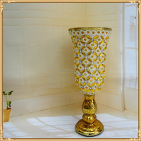 Brilliant ceramic flower metal crystal vase with jewel and diamond home decoration