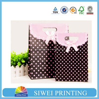 2015 fashion luxury antique custom logo printed hot sale jumbo paper bag smart for wine