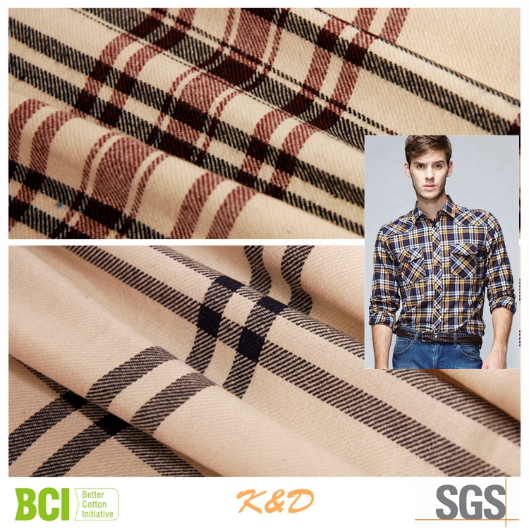 polyester cotton CVC TC twill check flannel shirting fabrics wholesale