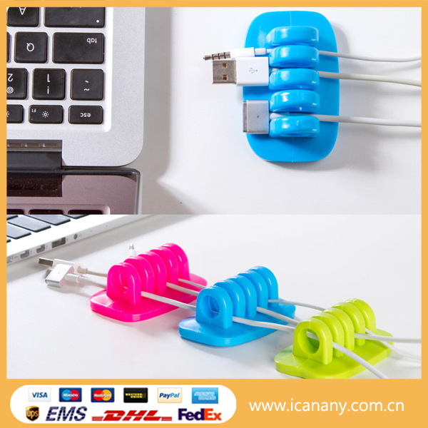Portable Silicone Mobile Phone Cable USB Cable/ Wire tie plastic holder clip
