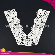 Ladies suit raw white cotton embroidery lace crochet collar neck design