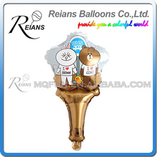 REIANS Customized printed inflatable cartoon Line Brown Bear Stick shaped aluminum foil handle balloons (accept OEM ODM)