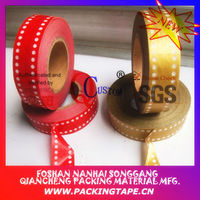 Printed golden dots floral paper tape for decorative and gift packaging