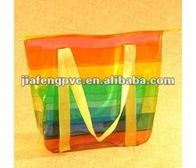 Fancy colorful PVC rainbow beach tote bag with zipper top