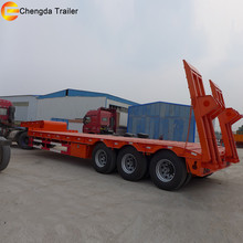 3axle 80tons lowbed low flatbed load semi trailer for sale