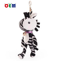Soft Plush Zebra Stuffed Animal Backpack Clip Toy Keychain