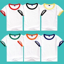 Custom logo uniform cheap basic <strong>boy's</strong> cotton short sleeve plain contrast collar round neck t shirt