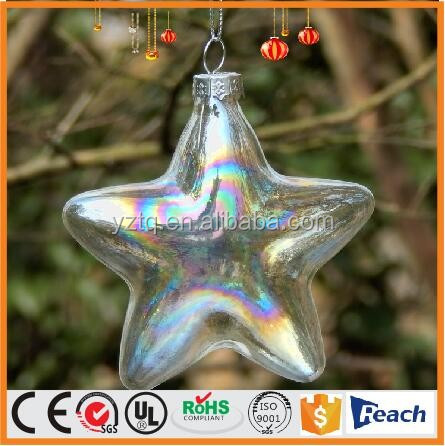 Christmas tree topper peal color clear glass star