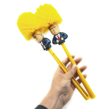 Funny cartoon custom design long handle plastic cleaning trump toilet brush
