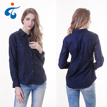 Top quality solid color ladies nice designer blouses and shirts