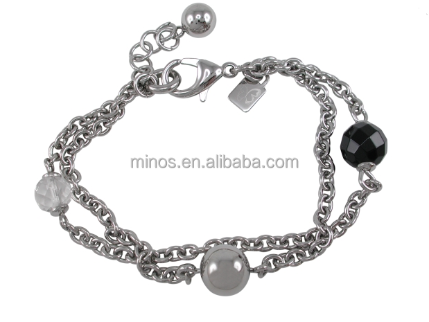 Stainless Steel 8mm &10mm Balls With 10mm Faceted Black Onyx Ball & 8mm Faceted Crystal Double Linked Bracelet
