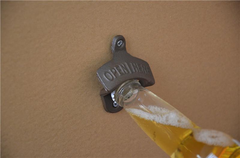 Open Here Cast Iron Wall Mount Western Bottle Opener