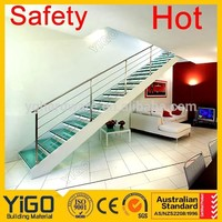 interior double stringer glass tread stairs/wood staircase treads