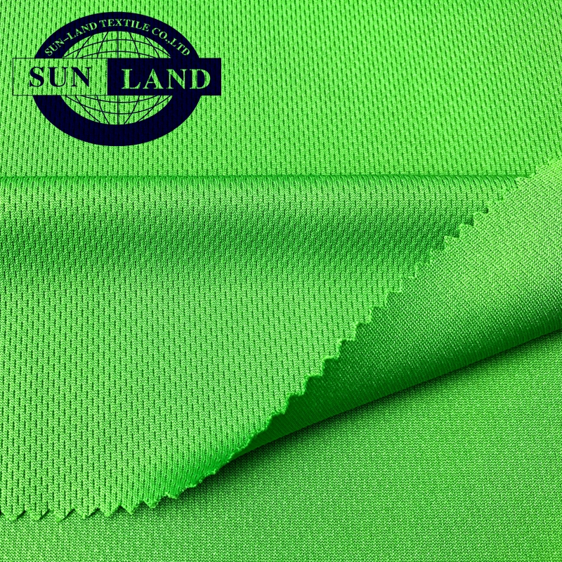 China knit mill OEM order high color fastness sport t-shirts breathable clothing dry fit function polyester knitting mesh fabric