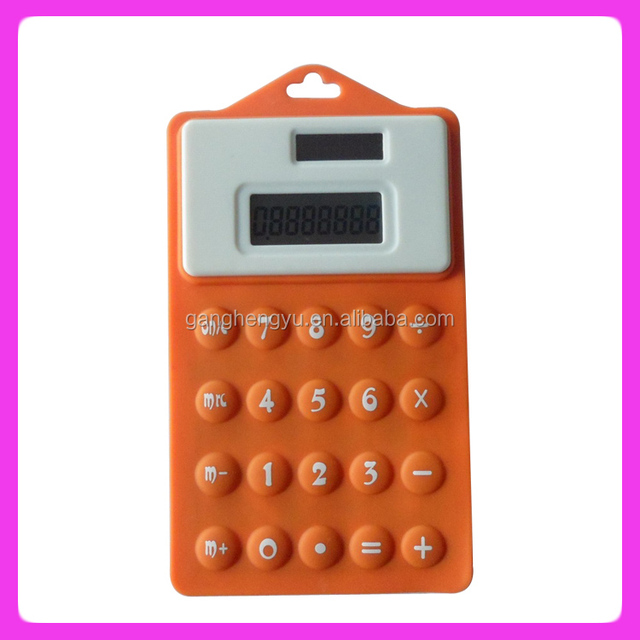 Waterproof pocket solar silicone promotional gift calculator
