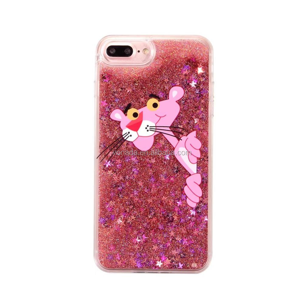 Lovely Animal Naughty leopard / Giraffe Liquid Quicksand Glitter Phone Case For iPhone 7 7 Plus