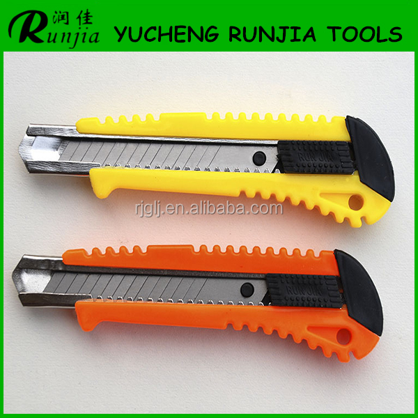 Muti-function retractable Utility Cutter Knife with plastic handle snap off carbon steel blade factory direct