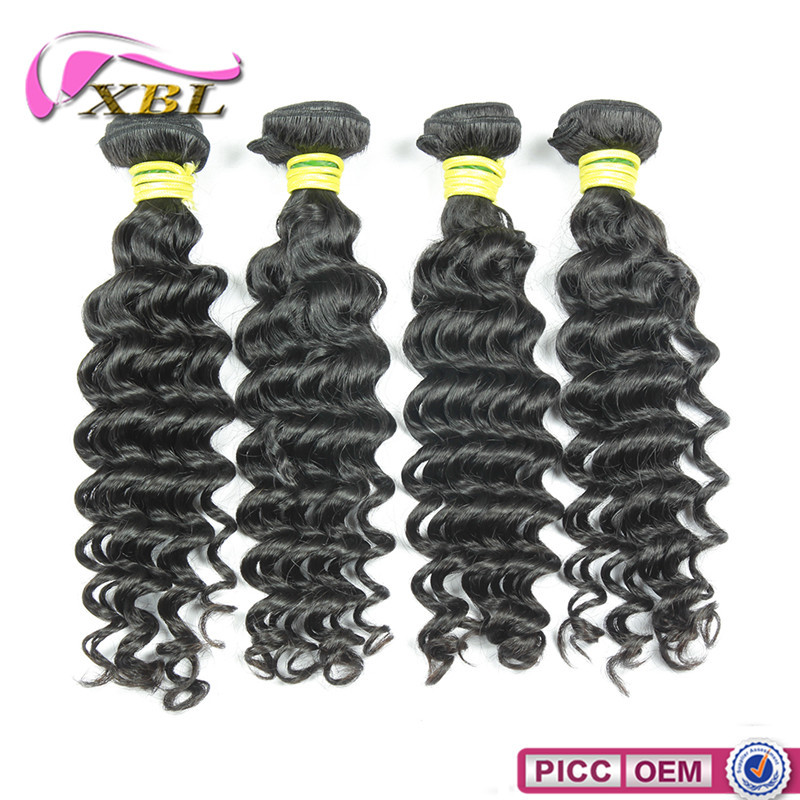 Cheap human hair weaving deep wave natural color extensions