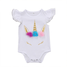 Unicorn baby clothing white baby romper baby girl summer outfit