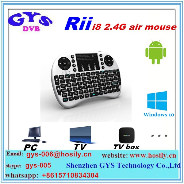 Rii I8 Backlit 2.4GHz Mini Wireless Keyboard Fly Air Mouse with Touchpad Handheld Gaming Keyboard for Tablet PC Android TV