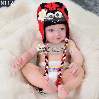 Handmade lovely crochet baby animal ladybug beanies hat for kids girls photo props for newborn