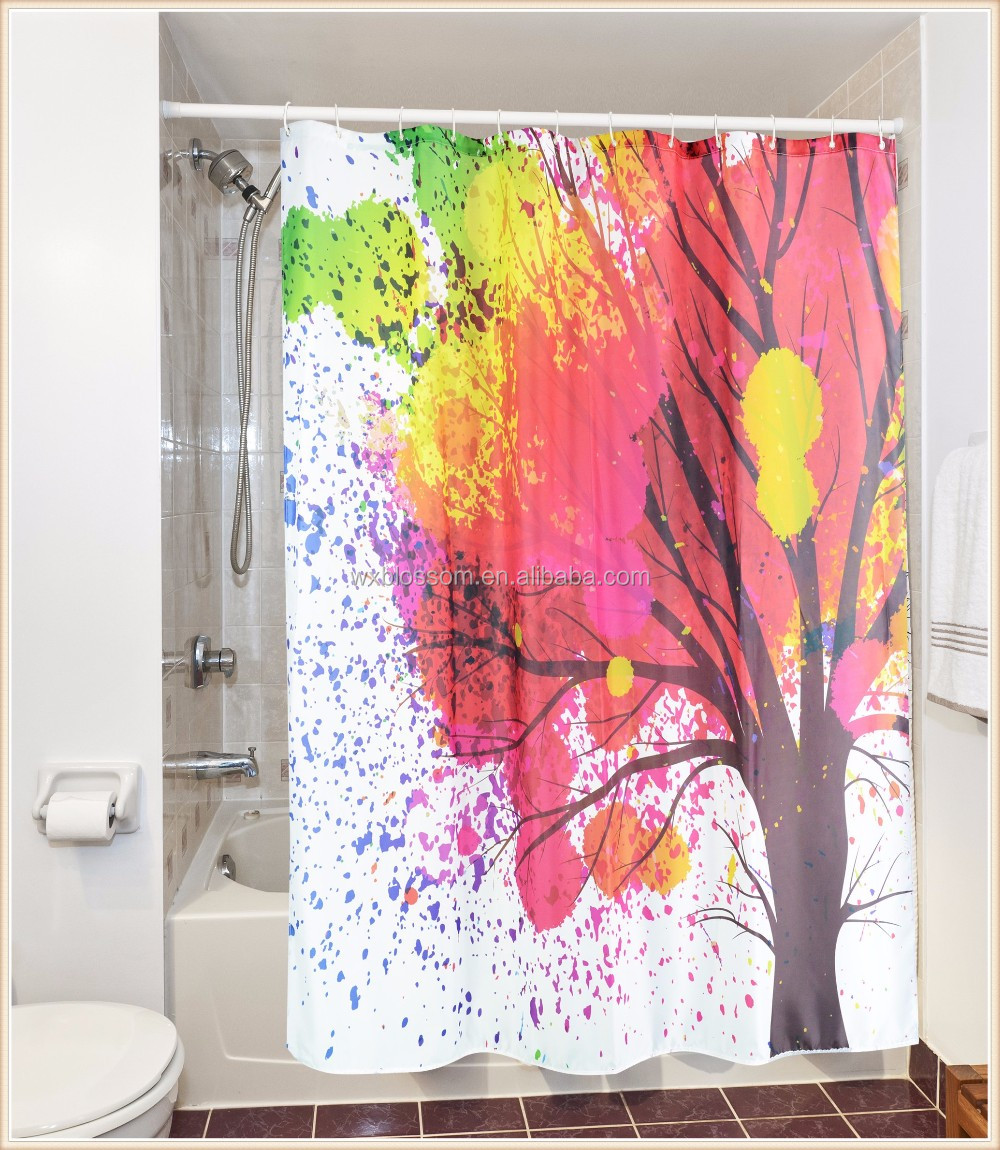 Tree polyester printing beautiful design shower curtain