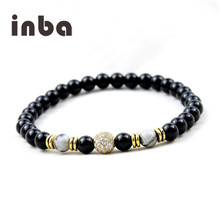 Inba High Quality 6mm White Picture Jasper Stone Onyx Beads With CZ Diamond Ball Mens Charm Bracelets
