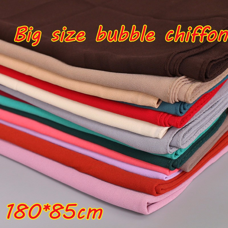 Big size high quality plain bubble chiffon <strong>scarf</strong> fashion muslim hijab solid color shawls popular beach <strong>scarves</strong>/pashmina