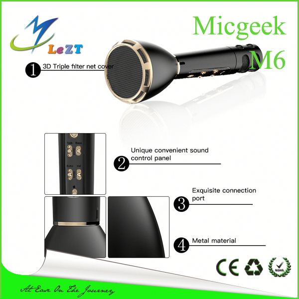2017 new technology magic karaoke Micgeek M6 custom wireless microphone pk K068 karaoke Microphone speaker bluetooth speakers
