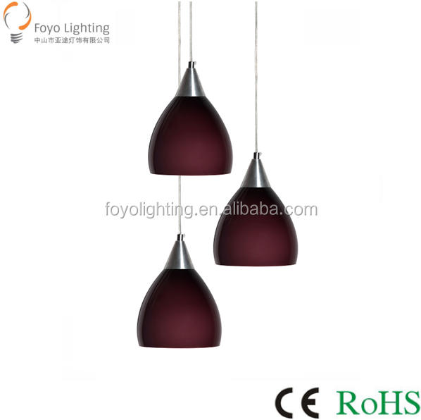 Cheap Purple Glass Pendant Lamp and Chandeliar with E27*3 Sockets