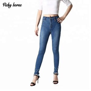 Cheap wholesale classic fashion cut up damaged jeans for women