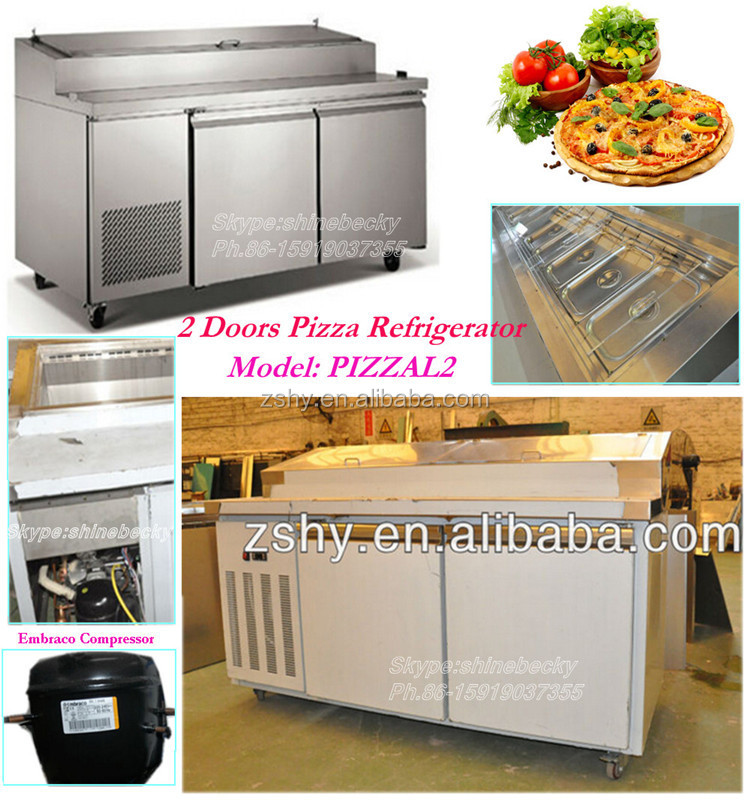 Stainless steel 2 door pizza refrigerator model PIZZAL2