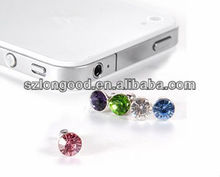 New Bling Crystal rhinestone 3.5mm Antidust Anti Dust ear cap for iphone 4 /5, for HTC, for Samsung for ipad