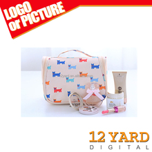 Fashion female sublimation cosmetic bag beauty cute handle waterproof polyester travel make-up case