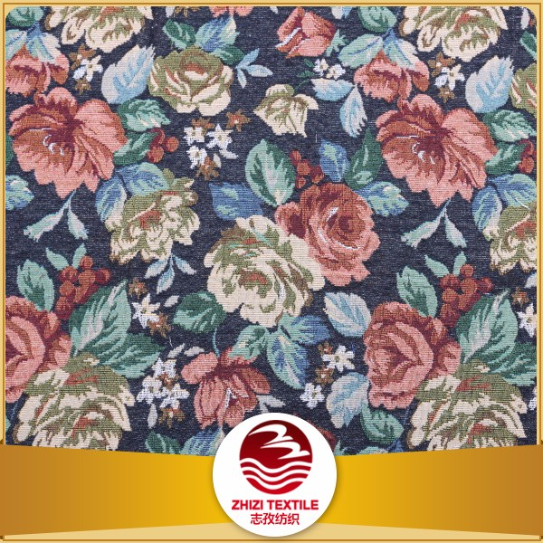 2016 Fashion design 80% polyester 20% cotton Wholesale leaves for flower arrangements upholstery jacquard fabric price per meter