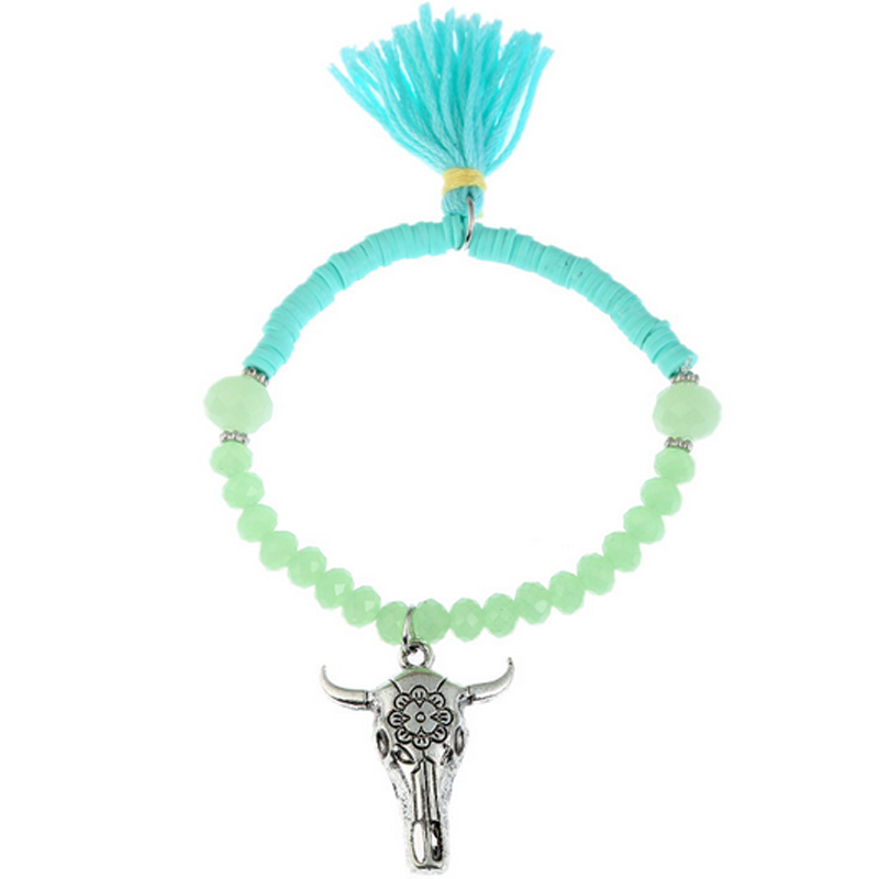 BR-12371 Fashion bead bracelet with tassel wholesale