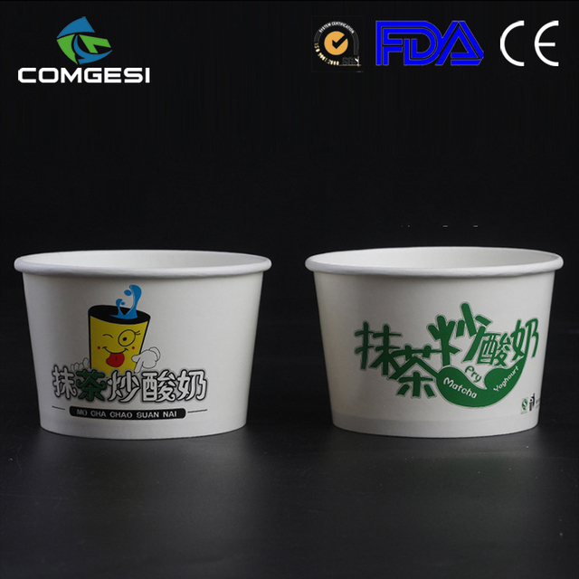 logo printed factory price biodegradable ice cream cups with logo colorful new design free sample