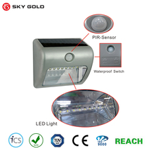 Factory Supply solar powered motion sensor light 8 bright led security lamp with low price