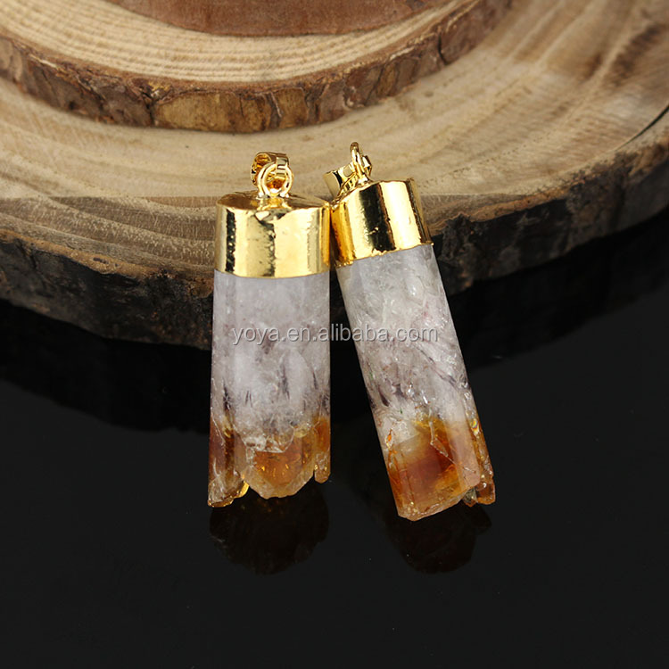 JF6887 Hot sale gold plated druzy citrine quartz cylinder column pendants with gold cap and bail