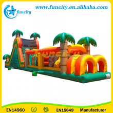 Jungle forest theme inflatable Obstacle Course castle with Panda, giraffe, lion animal models